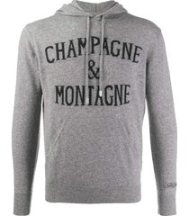 champagne & montagne blended hooded cashmere sweater