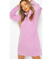 fleece funnel zip neck sweat dress, lilac