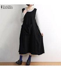 zanzea mujeres feas llamarada básico sin mangas vestido de tirantes vestido largo los delantales midi (no incluye la camisa) -negro