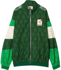 gucci green bomber jacket with flowers design