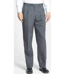 men's berle self sizer waist pleated classic fit dress pants, size 34 x - grey