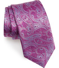 men's david donahue paisley silk tie, size one size - purple