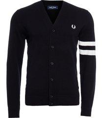 blusa masculina contrast sleeve cardigan - preto