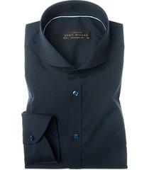 john miller heren overhemd blauw cutaway tailored fit stretch