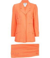 chanel pre-owned fitted skirt suit set - yellow