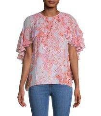 giambattista valli women's ruffle floral silk blouse - blue pink multi - size 48 (14)