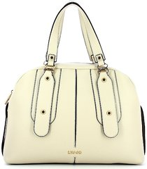 liu jo designer handbags, ivory eco-leather bowler bag