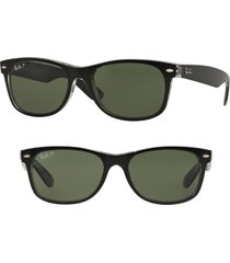 ray-ban standard new wayfarer 55mm polarized sunglasses in black/green at nordstrom