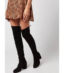 stuart weitzman women's tieland suede over the knee heeled boots - black - uk 8