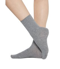 calzedonia - short cotton socks with comfort cut cuffs, 39-41, grey, women