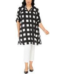 alfani plus size printed super tunic, created for macy's
