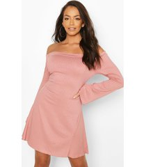 bardot fit & flare dress with fluted edge, rose