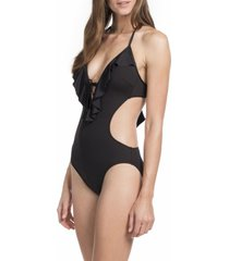 kenneth cole one piece sz l black swimsuit halter solid ruffled monokini rs5lb11