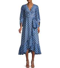 sachin & babi women's rae printed wrap dress - blue multicolor - size 0