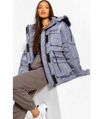 tall getailleerde cinch jas met faux fur capuchon, grey