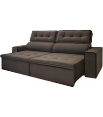 sofá retrátil com 4 lugares brasil 230cm marrom