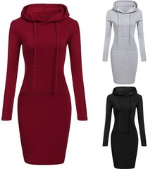 newly fashion women casual dress long sleeve hoodie hooded jumper pockets sweate