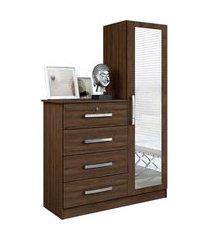 comoda belize plus 4 gavetas e 1 porta com espelho marrom móveis albatroz
