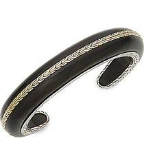 classic chain ebony wood, 18k gold & sterling silver cuff bracelet