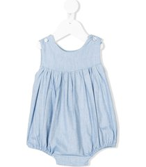 siola gathered chambray romper - blue