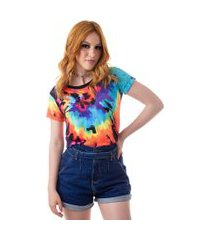 camiseta cropped feminina overfame md26 - espiral color tie