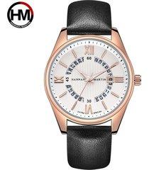 reloj de cinturón de moda de calendario para hombre-dorado