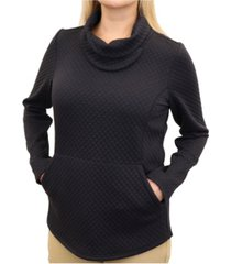 mountain and isles women's diamond quilted slit cowl neck pullover with diamond-quilted detail