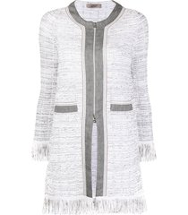 d.exterior frayed tweed jacket - grey