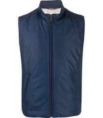 canali high collar quilted gilet jacket - blue