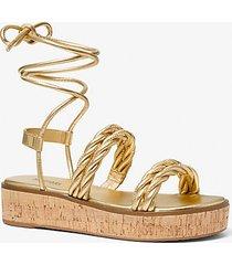 mk sandalo marina stringato metallizzato intrecciato - oro (oro) - michael kors