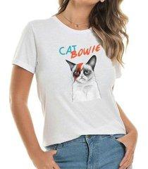 camiseta cat bowie buddies feminina - feminino