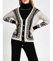 river island womens white chain detail print long line cardigan