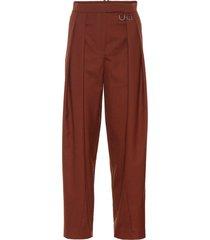 riley high-rise straight wool pants