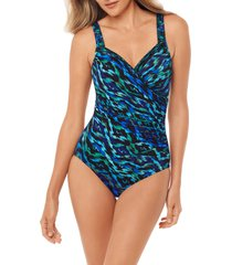 plus size women's miraclesuit jewels of the nile seraphina one-piece swimsuit, size 14 - green