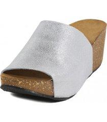 sandalia brillo plata nara