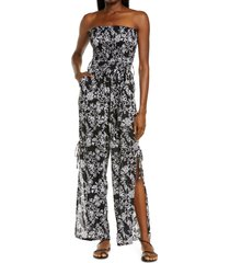 women's tiare hawaii francine batik cover-up strapless jumpsuit, size one size - black