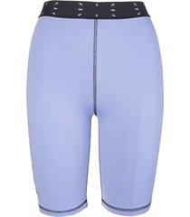 mcq alexander mcqueen woman lilac cyclist shorts with logo