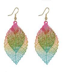 orecchini etnici colorati a doppio strato con foglie pendenti orecchini pendenti boho piercing per le donne