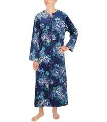 miss elaine floral-print fleece long zipper robe