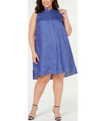 anne klein plus size button-front shift dress