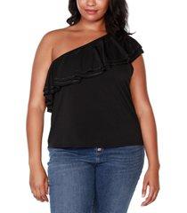 belldini black label plus size embellished one-shoulder flounce top