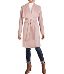 cole haan women's wool-blend wrap coat - dusty rose - size 8
