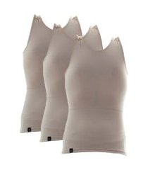 kit com 03 cintas modeladora e postural alta compressão bodyshaper - slim fitness bege