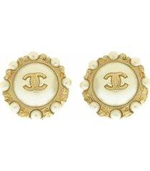 chanel cc faux pearl push back earrings gold, white sz: