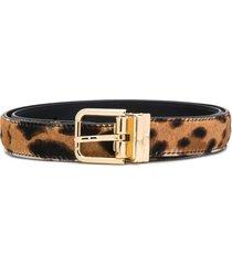 dolce & gabbana adjustable leopard print belt - brown