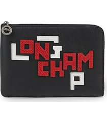 longchamp women's logo lettered leather pouch - black