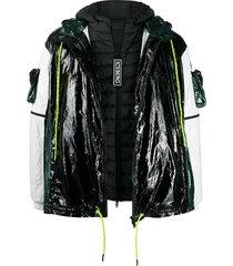 iceberg layered patent jacket - black