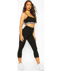 high waist micro ribbed crop legging, black