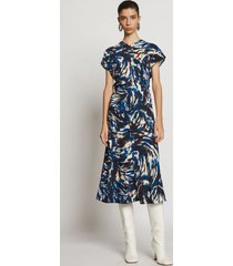 proenza schouler feather print cinched waist dress blue/black/butter feather 6