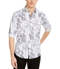 alfani men's linear waves shirt